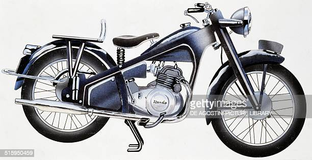 Honda Dream E motocycle Japan drawing
