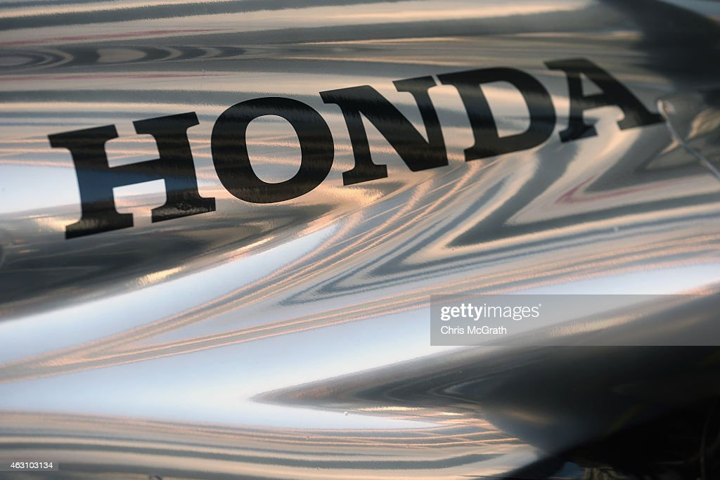 Honda logo is seen on McLaren Honda MP429H/1X1 is displayed in front of the Honda Motor Co headquarters on February 10 2015 in Tokyo Japan Honda...