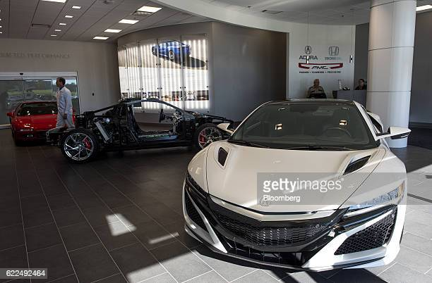Honda Motor Co 2017 Acura NSX vehicle sits in the showroom at the Honda Performance Manufacturing Center in Marysville Ohio US on Thursday Nov 10...