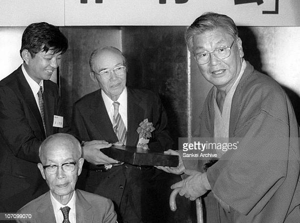 Honda Motor Co Ltd Founder Soichiro Honda and former vice president Takeo Fujisawa are seen during their scholarship foundation 'SakukouKai' meeting...