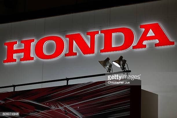Honda Motor Co Ltd logo is shown on display at the 2016 Tokyo Auto Salon car show on January 15 2016 in Chiba Japan TOKYO AUTO SALON 2016 is held...