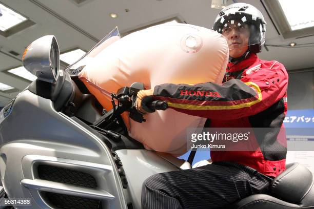 Honda Motor Co Ltd's world's first production motorcycle airbag system is introduced at a press conference at Honda's HQ on September 8 2005 in Tokyo...