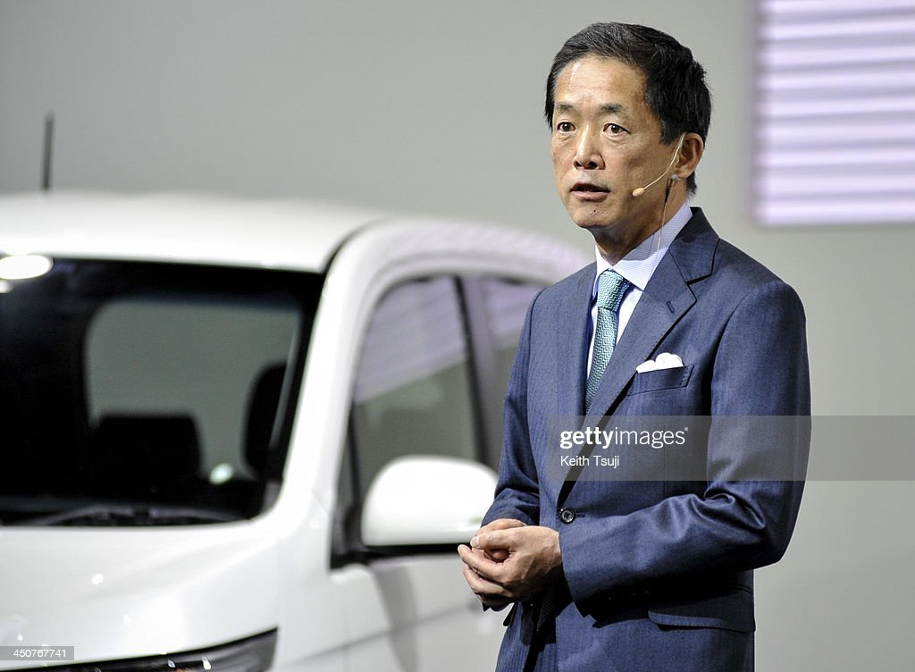 Honda Motor Co. Senior Managing Officer Sho Minekawa speaks during the press briefing at the Tokyo Motor Show 2013 at Tokyo Big Sight in Tokyo on November 20, 2013. The 43rd Tokyo Motor Show 2013 will be open to public from November 22nd to December 1st, 2013.