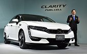 Honda Motors President Takahiro Hachigo speaks during a press preview to announce its new fuel cell vehicle the Clarity Fuel Cell at the company's...