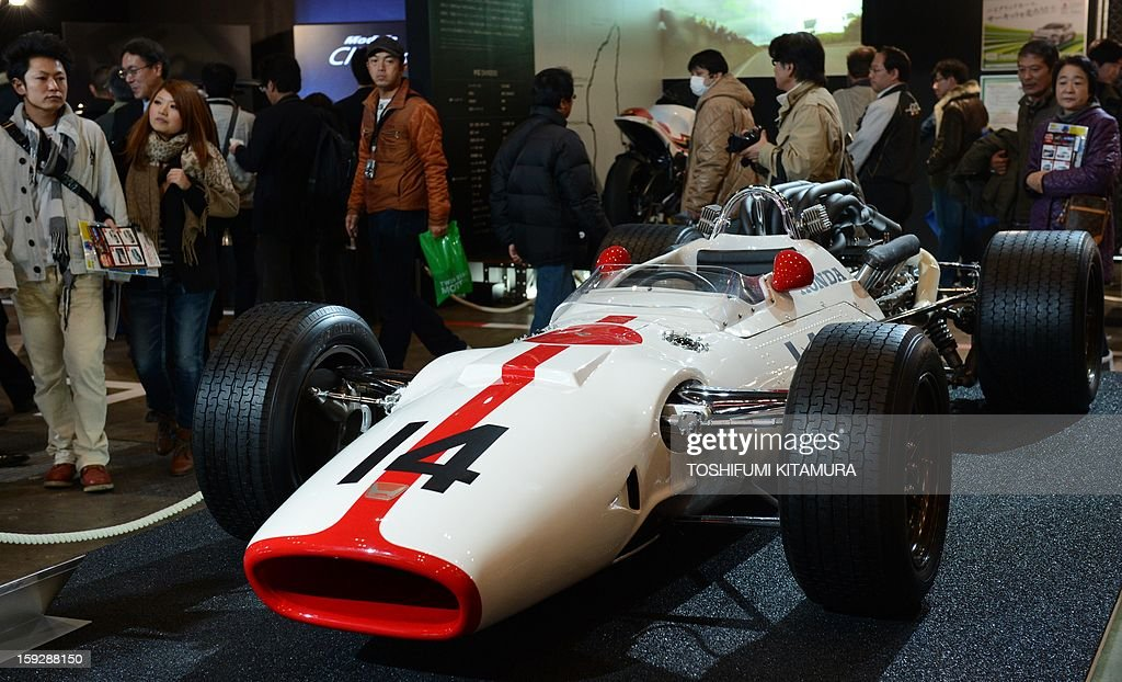 Honda RA300 formula one race car is displayed during the Tokyo Auto Salon 2013 exhibition at the Makuhari Messe in Chiba on January 11, 2013. A total of 452 domestic and foreign companies participated in the three-day-long custom car exhibition with some 800 vehicles on display.