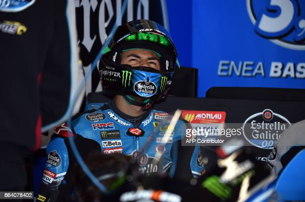 Honda rider Enea Bastianini of Italy gets ready for a ride during the Moto3class third practice session of the Australian MotoGP Grand Prix at...