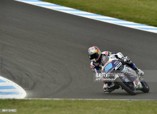Honda rider Jorge Martin of Spain powers his machine during the qualifying session of the Moto3class at the Australian MotoGP Grand Prix at Phillip...