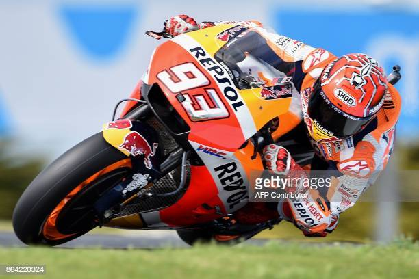 TOPSHOT Honda rider Marc Marquez of Spain competes during the qualifying session for the 2017 Australian MotoGP Grand Prix at Phillip Island on...