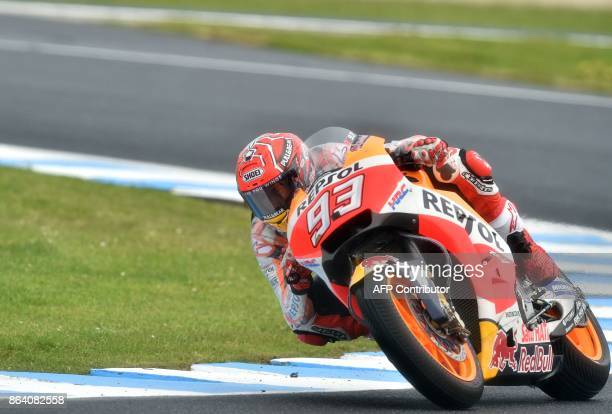Honda rider Marc Marquez of Spain negotiates a corner during the third practice session of the Australian MotoGP Grand Prix at Phillip Island on...