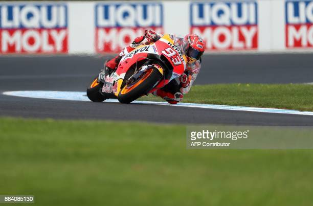 Honda rider Marc Marquez of Spain powers his machine during the third practice session of the Australian MotoGP Grand Prix at Phillip Island on...