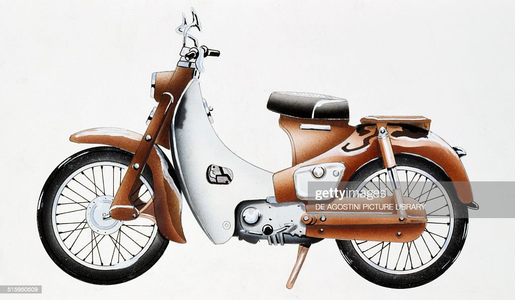 Honda Super Cub 100 cc motorcycle Japan drawing