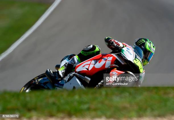 LCR Honda Team's British rider Cal Crutchlow rides his Honda during the qualification of the Moto GP Grand Prix of the Czech Republic in Brno on...