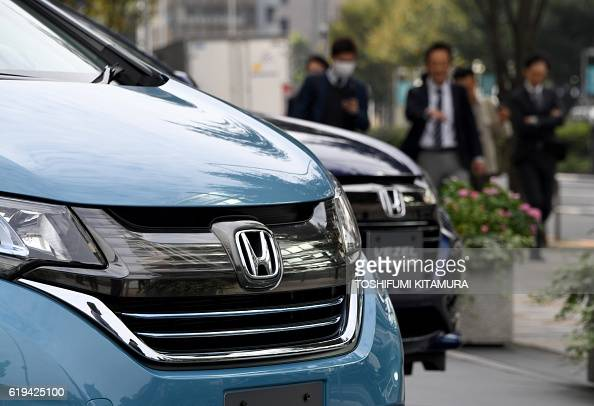 Honda Vehicles Are Displayed In Front Of The Honda Motors