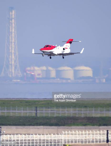 A HondaJet prepares to land at Tokyo International Airport on April 23 2015 in Tokyo Japan The 13meterlong aircraft can carry seven passengers and is...