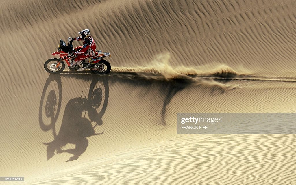 Honda's biker Javier Pizzolito of Argentina competes during the Stage 2 of the Dakar 2013 in Pisco, Peru, on January 6, 2013. The rally will take place in Peru, Argentina and Chile from January 5 to 20.