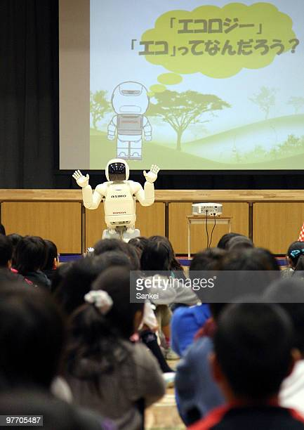Honda's humanoid robot 'ASIMO' conducts a class on ecology at Nakagawa Primary School on March 10 2010 in Tokyo Japan Honda have had 'Earth...
