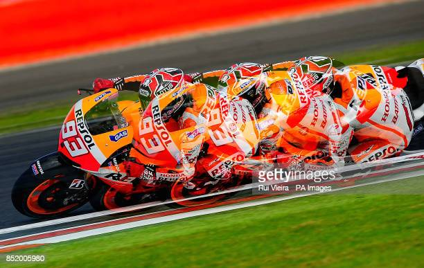 SETTING* Honda's Marc Marquez during Free Practice 3 at Silverstone Northamptonshire PRESS ASSOCIATION Photo Picture date Saturday August 31 2013 See...