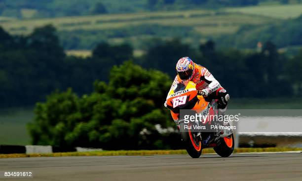 Honda's Nicky Hayden of the USA during Free practice 1 at Donnington Park