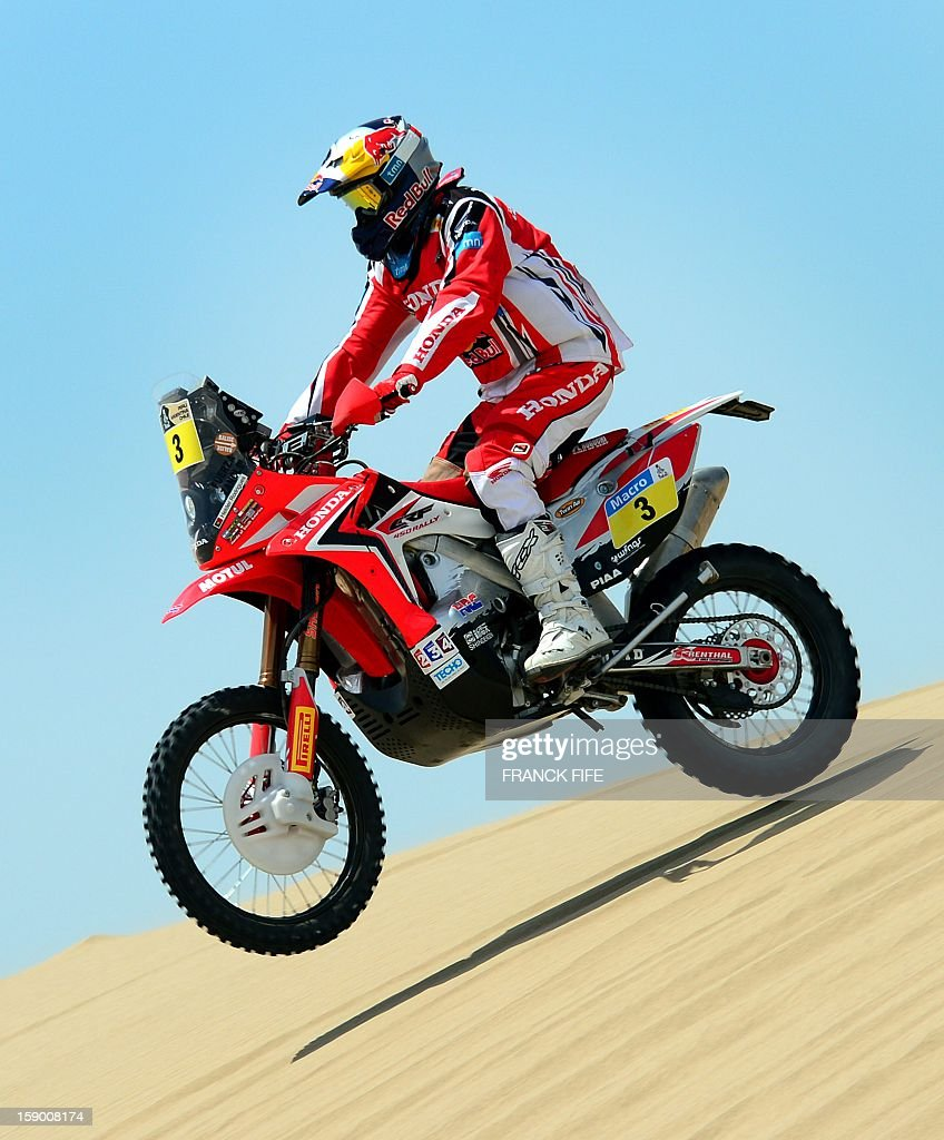 Honda's rider Helder Rodriguez of Portugal competes during the Stage 1 of the Dakar 2013 between Lima and Pisco, Peru, on January 5, 2013. The rally will take place in Peru, Argentina and Chile from January 5 to 20.