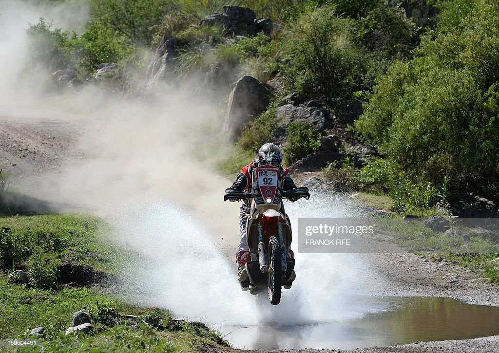 Honda's rider Jeremias Israel Esquerre of Chile competes during the Stage 9 of the Dakar 2013 between Tucuman and Cordoba, Argentina, on January 14, 2013. The rally takes place in Peru, Argentina and Chile between January 5 and 20.