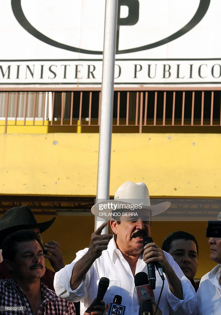 Honduran former president and general coordinator for the National Front of Popular Resistance (FNRP) Manuel Zelaya speaks before lodging a report at the Public Ministry against police director Gen Juan Carlos Bonilla for alleged violent actions against members and supporters of the LIBRE party, on March 4, 2013 in Tegucigalpa. AFP PHOTO/Orlando SIERRA