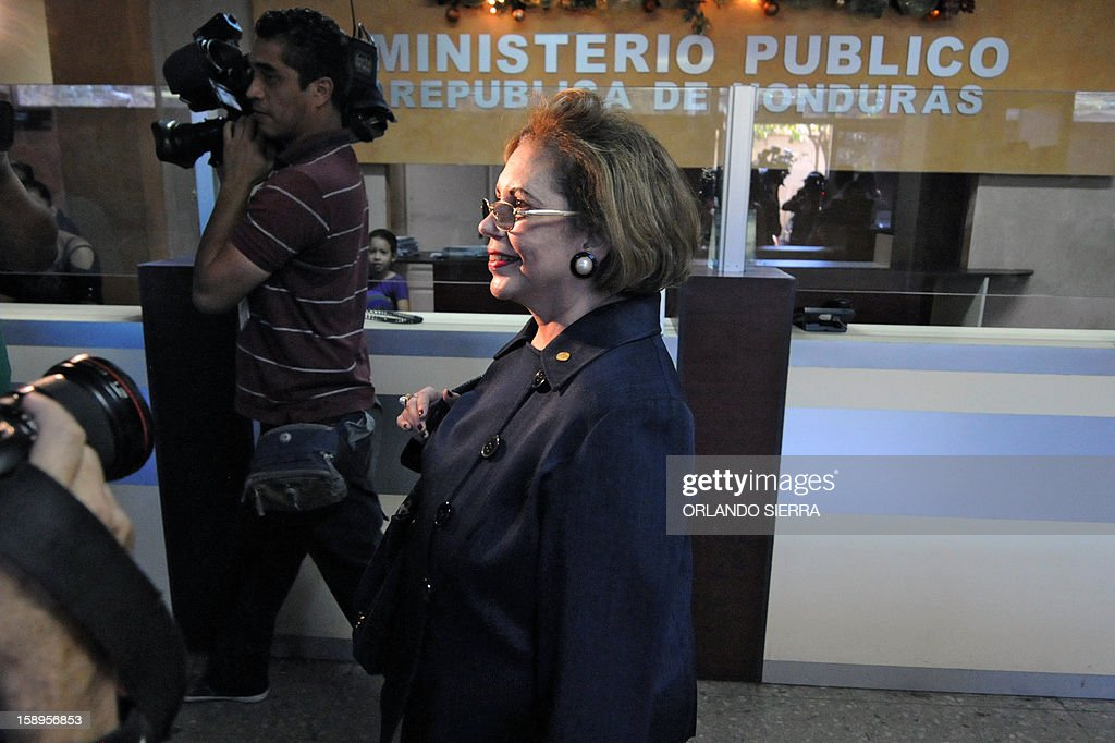 Honduran judges Rosalinda Cruz, who was removed from office, arrives to meet Honduran Attorney General, Luis Alberto Rubi (out of frame), in Tegucigalpa, on January 4, 2013. Cruz and three more judges were removed from the Supreme Court by the Congress on December. The Human Rights National Commissioner of Honduras, Ramon Custodio, requested preventive measures before the Inter-American Commission of Human Rights for the four judges. AFP PHOTO / Orlando SIERRA