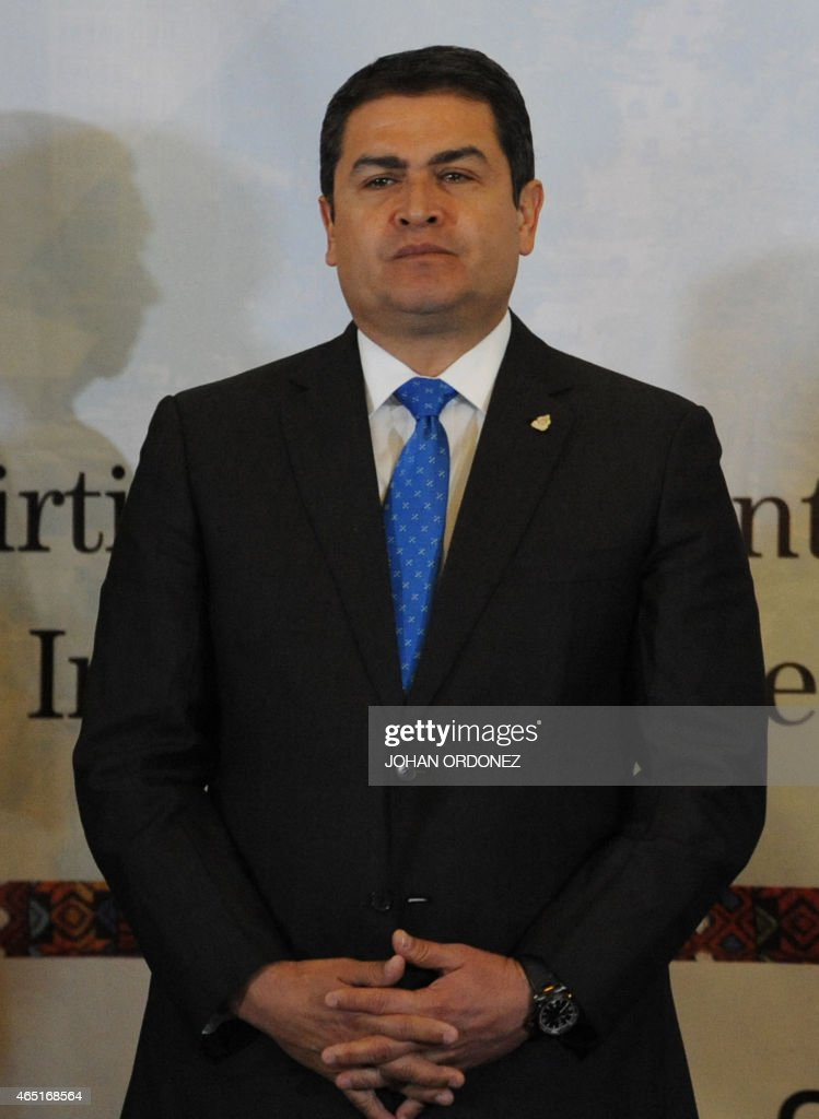 Honduran President Juan Orlando Hernandez is seen during a working meeting in Guatemala City on March 3, 2015. Leaders from Guatemala, El Salvador and Honduras are meeting with US Vice President Joe Biden for two days of talks on the crisis of child immigrants entering the United States.