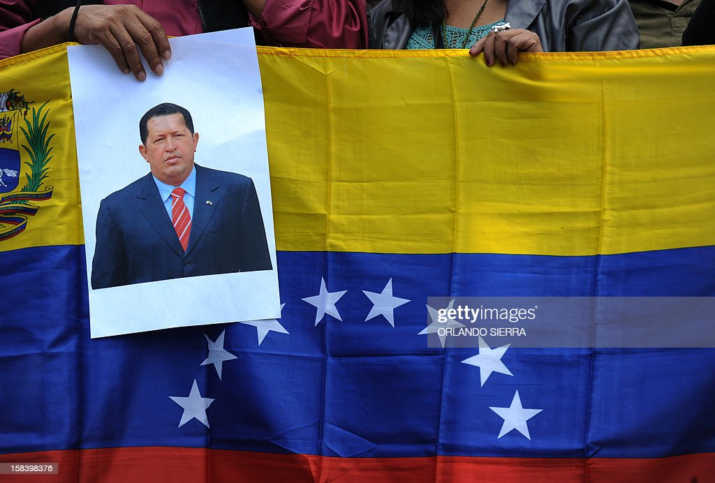 Honduran supporters of the Freedom and Refoundation (LIBRE) party and the National Front of Popular Resistance (FNRP) attend a demonstration in support of Venezuelan President Hugo Chavez, on Decem...
