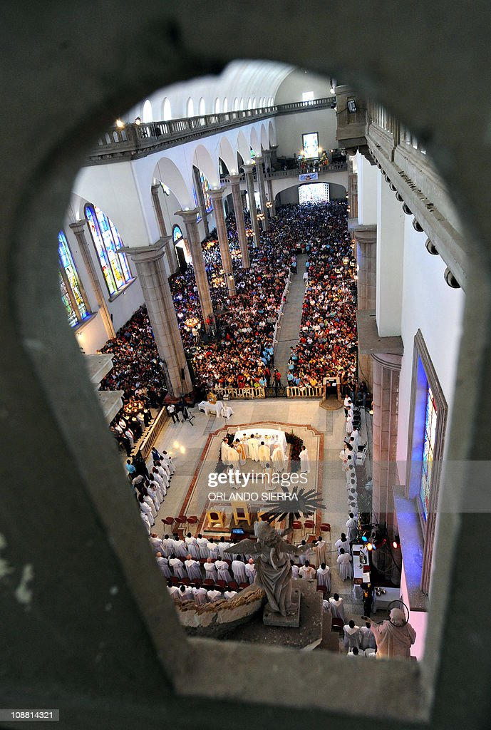 Hondurans take part in a mass in honor of the Suyapa Virgin the patron saint of Honduras in Tegucigalpa on February 3 2011 Over two million Catholic...