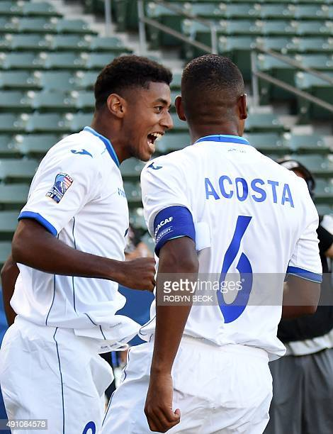 Honduras Anthony Lozano celebrates with teammate Bryan Acosta after scoring a goal against Haiti during their CONCACAF Men's Olympic Qualifying Group...