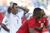 Honduras' Carlos Discua reacts to a missed shot during the CONCACAF Gold Cup match between Honduras and Panama in Foxborough Massachusetts July 10...