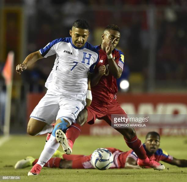 Honduras' defender Emilio Izaguirre vies for the ball with Panama's forward Luis Tejada during a FIFA World Cup Russia 2018 Concacaf qualifier match...