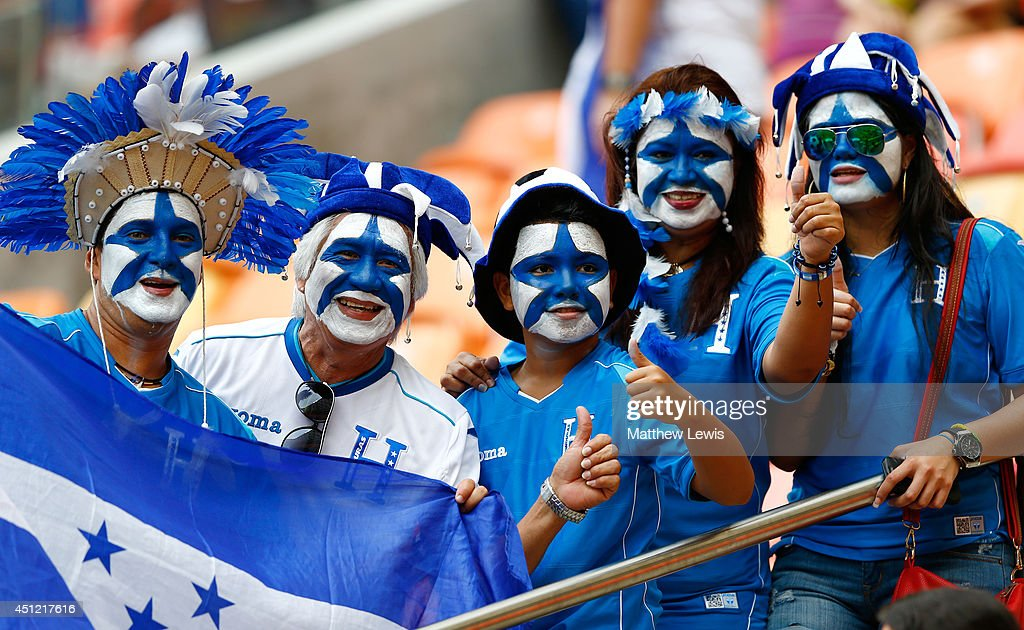 Honduras fans show their support prior to the 2014 FIFA World Cup Brazil Group E match between Honduras and Switzerland at Arena Amazonia on June 25...