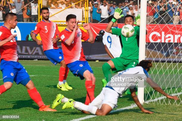 Honduras' forward Anthony Lozano scores a goal during their 2018 FIFA World Cup qualifier football match against Costa Rica in San Pedro Sula...