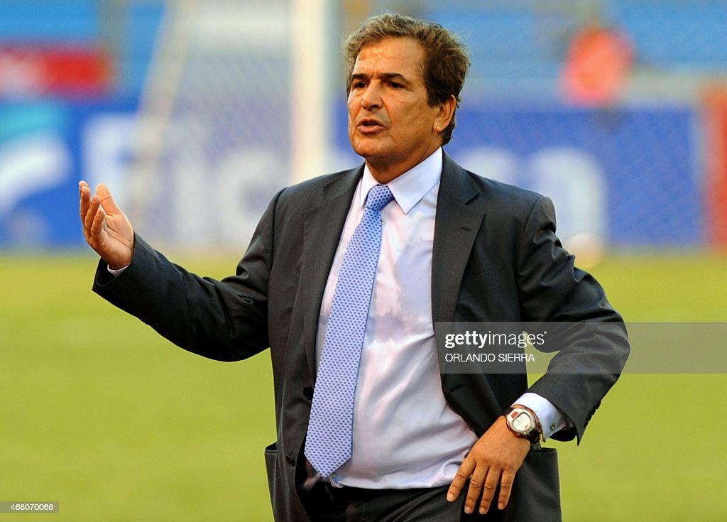Honduras' head coach Colombian <a gi-track='captionPersonalityLinkClicked' href=/galleries/search?phrase=Jorge+Luis+Pinto&family=editorial&specificpeople=2548389 ng-click='$event.stopPropagation()'>Jorge Luis Pinto</a> gestures during the Concacaf Gold Cup qualifying playoff match against French Guiana, at the Olimpico Metropolitano stadium in San Pedro Sula, 240 km north of Tegucigalpa, on March 29, 2015. The Concacaf Gold Cup will be held in United States and Canada from July 7 to 26.