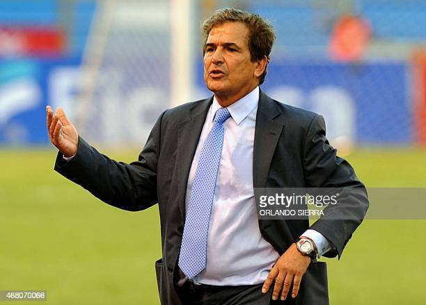 Honduras' head coach Colombian Jorge Luis Pinto gestures during the Concacaf Gold Cup qualifying playoff match against French Guiana at the Olimpico...