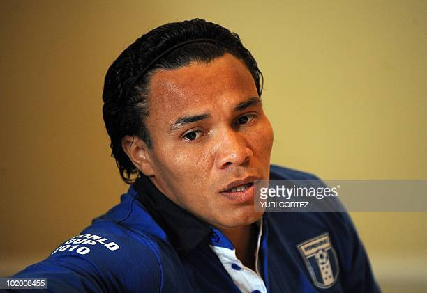 Honduras' Julio Cesar De Leon speaks during a press conference at the Indaba Hotel on June 12 2010 in JohannesburgThe World Cup continues until July...