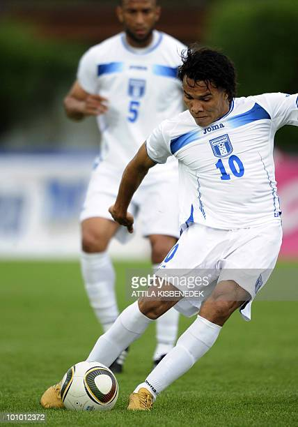 Honduras' Julio Leon scores a goal against Belarus during their friendly match between their teams in the local stadium of Villach on May 27 2010...