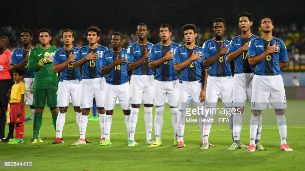 Honduras line up for the National Anthems ahead of the FIFA U17 World Cup India 2017 Round of 16 match between Brazil and Honduras at the Jawaharlal...
