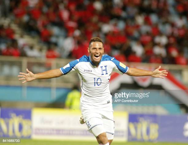 Honduras' midfielder Alex Lopez celebrates after scoring against Trinidad and Tobago during their FIFA World Cup 2018 CONCACAF qualifiers football...