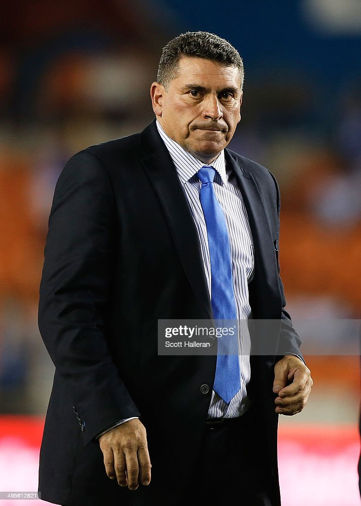 Honduras national football team manager Luis Fernando Suárez is seen during their Road to Brazil match against Isreal at BBVA Compass Stadium on June 1, 2014 in Houston, Texas.
