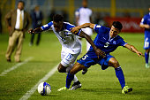 Honduras player Alberth Elis vies for the ball with El Salvador's Alexander Mendoza during their Russia 2018 FIFA World Cup Concacaf Qualifiers'...