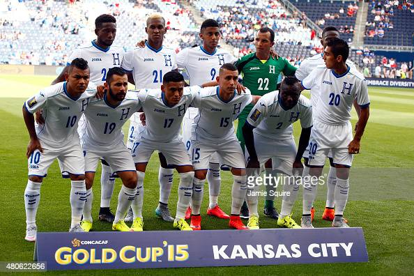 Honduras player pose for a team photo prior to the 2015 CONCACAF Gold Cup match against Haiti at Sporting Park on July 13 2015 in Kansas City Kansas