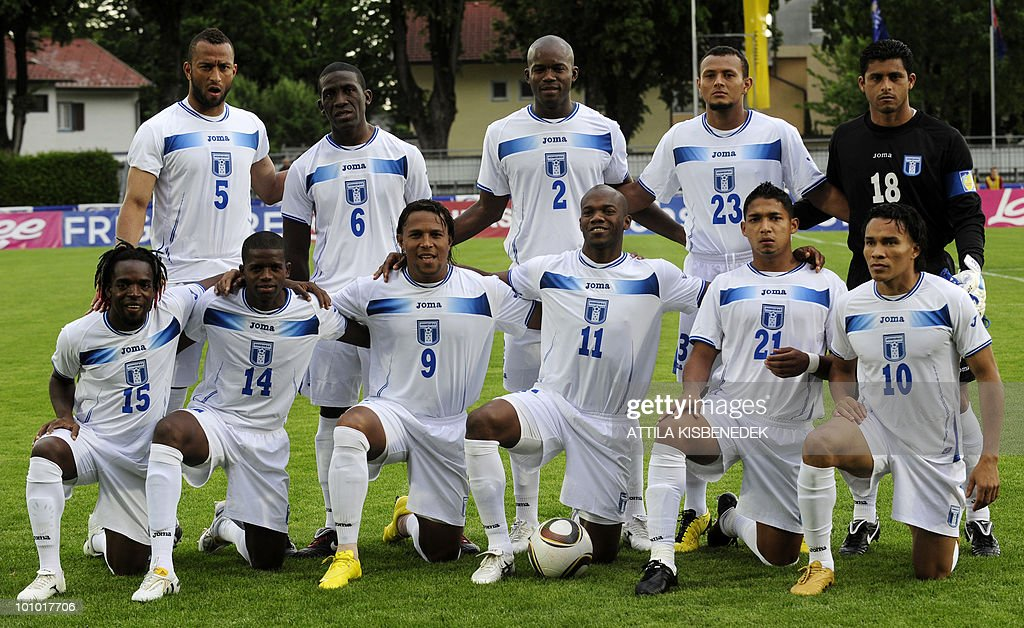 Honduras' players, (L to R) (first row) Walter Martinez, Oscar Garcia, Carlos Pavon, Oscar Suazo, Emilio Izaguirre and Julio Leon, (second row) Victor Bernardez, Hendry Thomas, Osman Chavez, Sergio Mendoza and Noel Valladares pose for a team photo prior to their friendly match against Belarus in the local stadium of Villach, on May 27, 2010 prior to the FIFA World Cup 2010 hosted by South Africa between June 11 and July 11. The match ended with 2-2 equal.