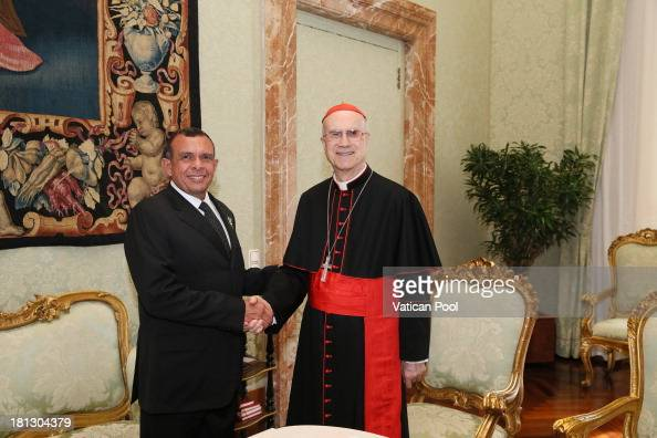 Honduras President Porfirio Lobo Sosa meets with the Vatican Secretary of State cardinal Tarcisio Bertone after an audience with Pope Francis on...