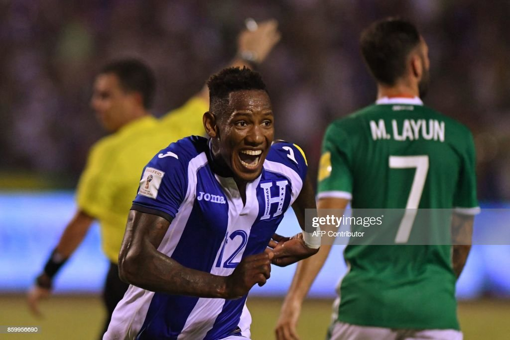 Honduras' Romell Quioto celebrates after scoring against Mexico during their 2018 World Cup qualifier football match, in San Pedro Sula, Honduras, on October 10, 2017. /