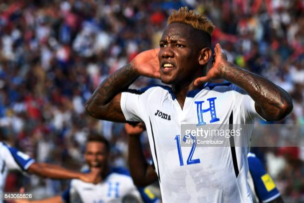 Honduras' Romell Quioto celebrates after scoring against the United States during their 2018 World Cup football qualifier match in San Pedro Sula...