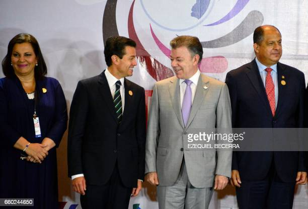 Honduras' Secretary of Foreign Affairs Maria Aguero Lara Mexico's President Enrique Pena Nieto Colombia's President Juan Manuel Santos and Costa...