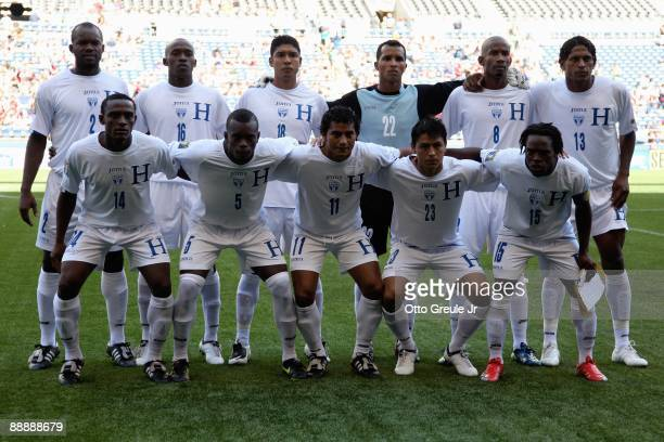 Honduras starting lineup poses for a photo before the 2009 CONCACAF Gold Cup game against Haiti on July 4 2009 at Qwest Field in Seattle Washington...