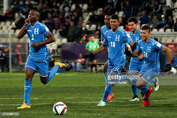 Honduras team mates celebrate after scoring a goal during the Group E Group E FIFA U20 World Cup New Zealand 2015 match between Uzbekistan and...